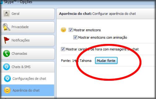 skype mudar fonte