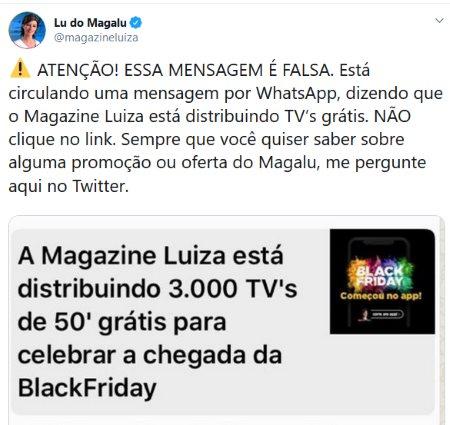 Magazine Luiza está distribuindo tv 50 grátis
