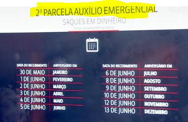 calendário da segunda parcela do auxílio emergencial